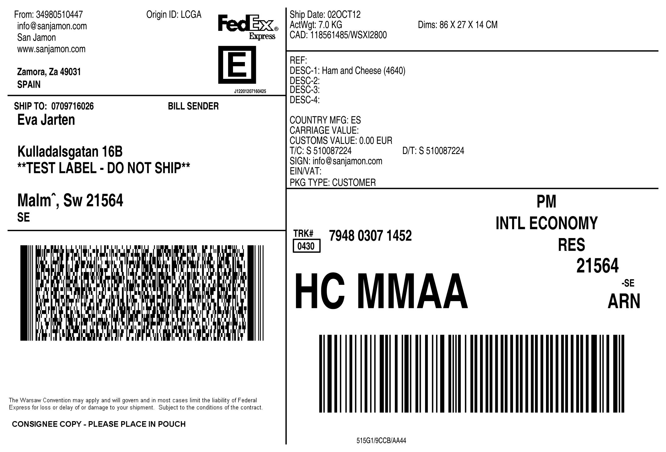 Generación de envíos y etiquetas con FedEx