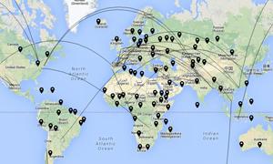 Programacion web avanzada con Google Maps - Mapa de líneas geodésicas